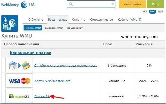 Банковский платеж Приват24
