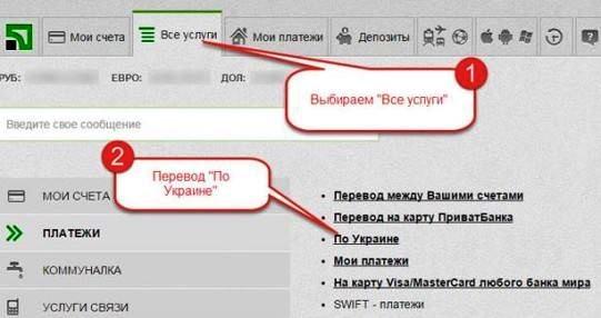 Перевод по Украине