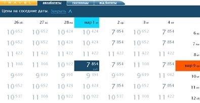 Посмотреть цены на соседние даты полетов