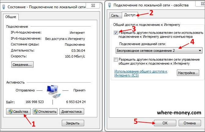 Разрешить раздачу интернета через wifi