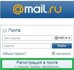 Регистрация почты Mail.ru