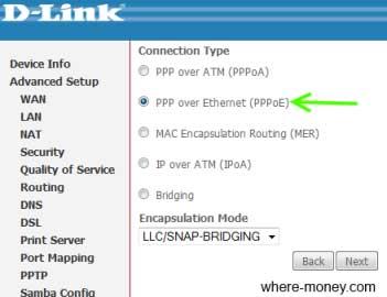 Тип подключения к интернету PPPoE