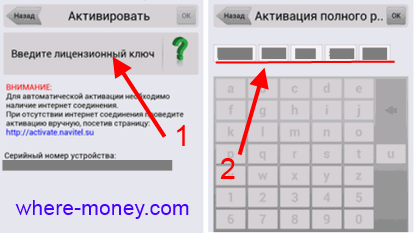введите лицензионный ключ