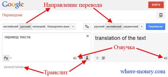 направление перевода