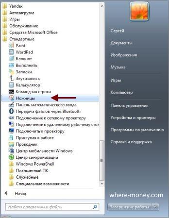 Программа Ножницы в Windows