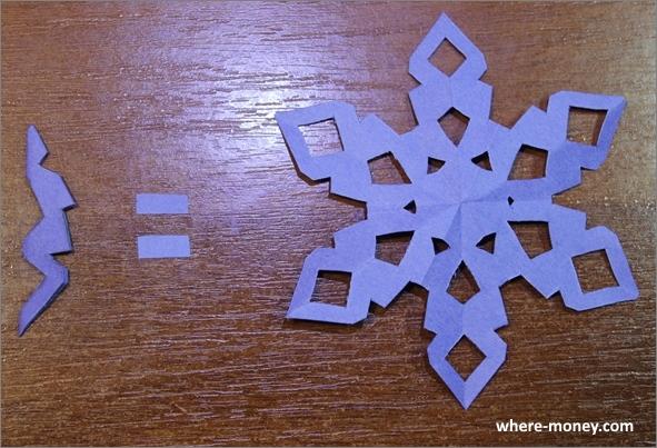 Красивая шестиконечная снежинка