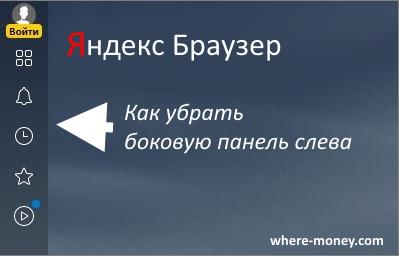 Как убрать боковую панель в Яндекс браузере слева