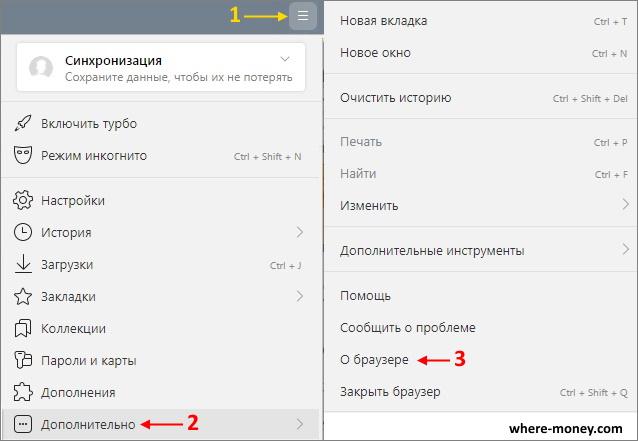 Раздел в меню о браузере